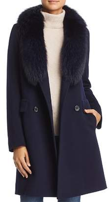 Maximilian Furs Fleurette Fur Trim Double-Breasted Front Wool Coat
