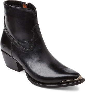 Frye Black Shane Tip Leather Western Ankle Boots