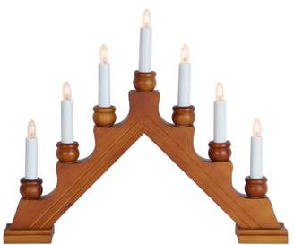 clear Star Wood 7-Light Karin-7 Candlestick, Brown with Bulbs
