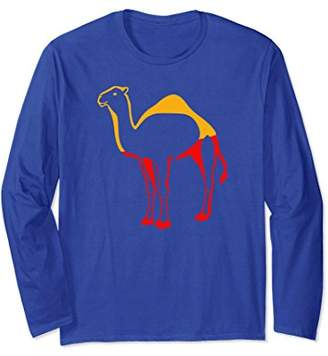 Long Sleeve Red & Yellow Colorful Camel Shirt - Cool Animal