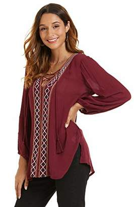 SONJA BETRO Amazon Brand Women's Crinkle Rayon Embroidered Front Lacing Detail Long Sleeve Tunic