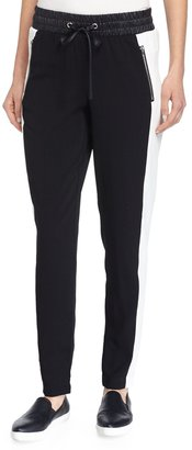 Philosophy Crepe Skinny Pants w/Faux-Leather Waist, Black/White $69 thestylecure.com