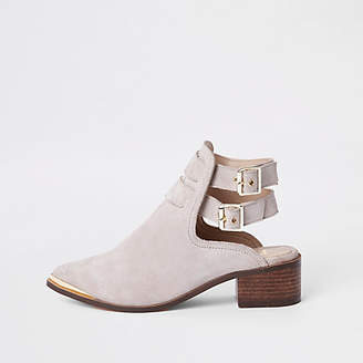 River Island Cream suede double buckle shoe boots