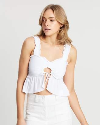 80709a0a65f78 White Ruffle Crop Top - ShopStyle Australia