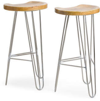Made In India Set Of 2 Contemporary Barstools