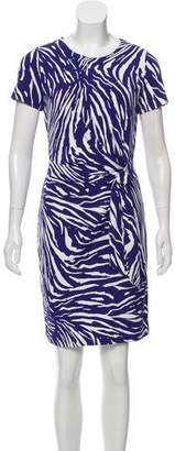 Diane von Furstenberg Printed Short Sleeve Knee-Length Dress