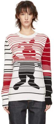 Marni Dance Bunny White and Multicolor Striped Bunny Sweater