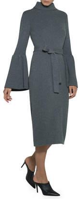 Eleventy Flare-Sleeve Belted Turtleneck Sweaterdress