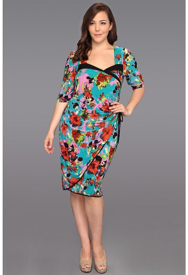 Kiyonna Portia Pin Up Dress (Jade Tropical Print) - Apparel