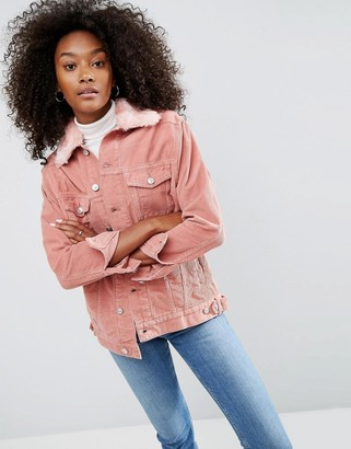ASOS Cord Girlfriend Jacket in Dusty Pink with Detachable Faux Fur Collar $78 thestylecure.com