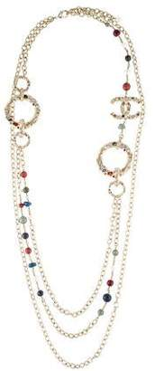 Chanel Crystal, Resin, & Pearl Embellished Paris-Rome Necklace