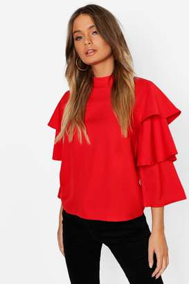 boohoo Cara Tiered Sleeve High Neck Blouse $36 thestylecure.com