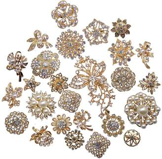 Crystal Pearl ZAKI L'vow Silver Color Sparking Wedding Bridal Brooches Bouquet Kit Pack of 30