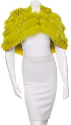 Oscar de la Renta Hooded Fur Capelet w/ Tags
