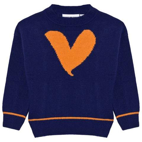 Gardner and the gang Blue and Orange Heart Kitted Jumper