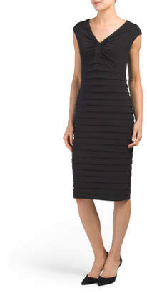 Cinch V-neck Shutter Pleat Dress