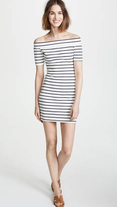 ENGLISH FACTORY Off Shoulder Stripe Dress