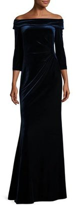 Rickie Freeman for Teri Jon Off-the-Shoulder Stretch Velour Gown, Slate Blue $560 thestylecure.com