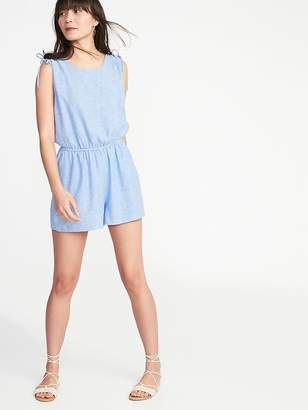 Old Navy Sleeveless Tie-Shoulder Linen-Blend Romper for Women