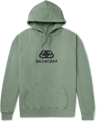 Balenciaga Logo-Print Loopback Cotton-Jersey Hoodie - Men - Green