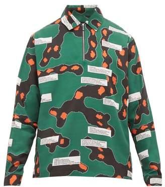 PAM Quarter Zip Printed Shirt - Mens - Green Multi