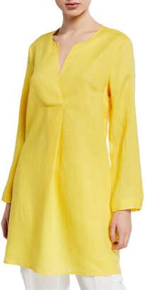 Neiman Marcus Long-Sleeve V-Neck Linen Tunic