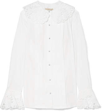 Christopher Kane Broderie Anglaise-trimmed Cotton-poplin Blouse - White