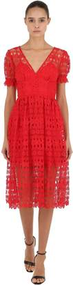Self-Portrait Tech Lace Midi Dress
