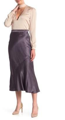 MOON & SKY Solid Bias Satin Midi Skirt