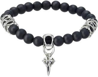FINE JEWELRY Mens Black Bead and Stainless Steel Cross Bracelet