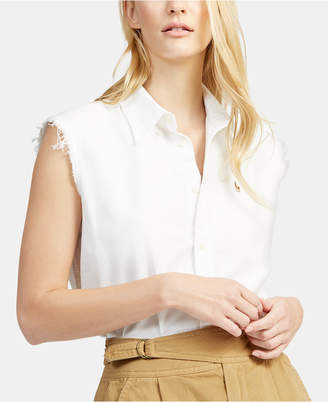 Polo Ralph Lauren Frayed Sleeveless Cotton Oxford Shirt