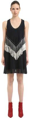 Drome Fringed & Studded Nappa Suede Dress
