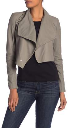 LAMARQUE Cropped Leather Funnel Jacket