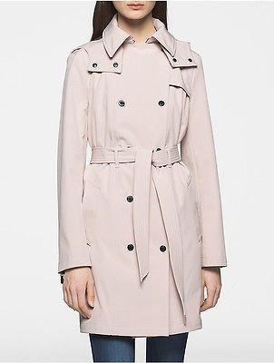 Calvin KleinCalvin Klein Womens Soft Shell Hooded Trench Coat Jacket