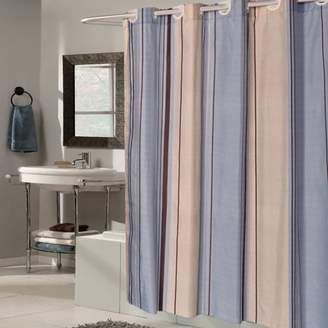 Generic EZ On Blue Tan Striped Fabric 70 X 75 Shower Curtain Liner
