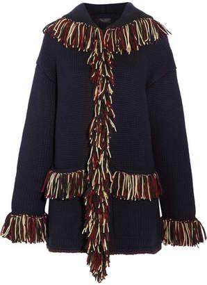 Alanui - Fringed Hooded Cashmere Cardigan - Navy