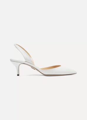 Paul Andrew Rhea Leather Slingback Pumps - White