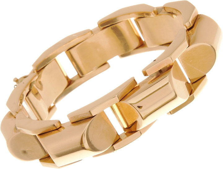 Olivia Collings Antique Jewelry Pink Gold Curved Link Bracelet