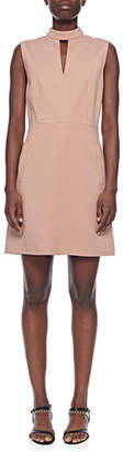 Tibi Mock-Neck Sleeveless A-Line Mini Dress with Pockets
