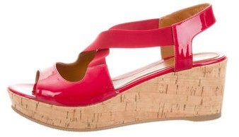 Fendi Fendi Patent Leather Slingback Wedges