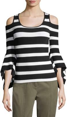 Scripted Scoopneck Cold-Shoulder Bell-Sleeve Sweater