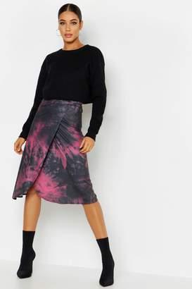 boohoo Tie Dye Wrap Midi Skirt