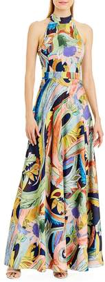 Nicole Miller New York Women's Sleeveless Mock Neck Printed Gown with Back Bow