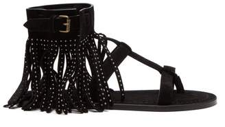 Saint Laurent Nino Suede Fringed Studded T Bar Sandals - Womens - Black