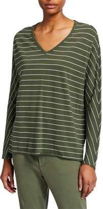 Frank And Eileen Striped Deep V-Neck Long-Sleeve Cotton Tee