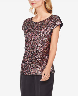 Vince Camuto Sequined-Front Cap-Sleeve Top