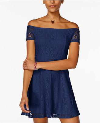 Planet Gold Juniors' Leasa Off-The-Shoulder Lace Dress $39 thestylecure.com