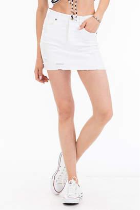 Olivaceous Distressed Denim Skirt