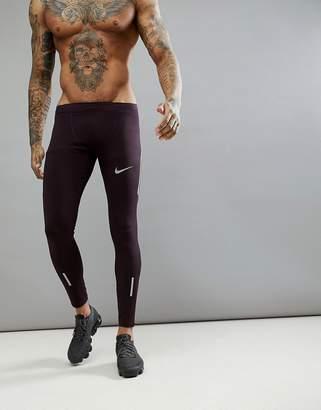 Nike Running Dri-FIT Power Tech Tights In Burgundy 857845-652