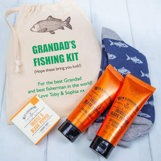 British and Bespoke Personalised Fishing Socks And Mens Toiletries Gift Set